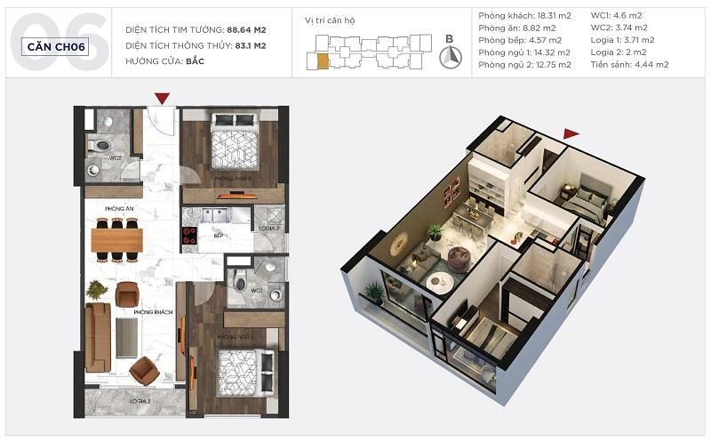 Thiết kế căn hộ 06 tòa S1 Sunshine City Ciputra Tây Hồ