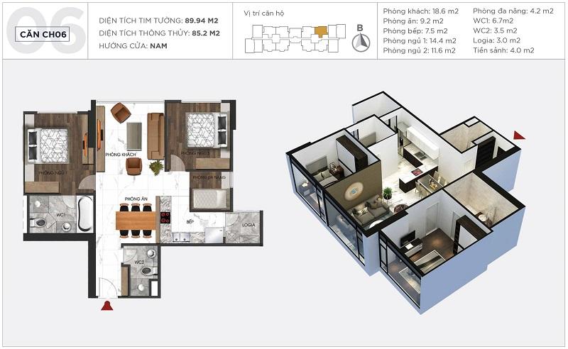 Thiết kế căn hộ 06 tòa S2 Sunshine City Ciputra Tây Hồ