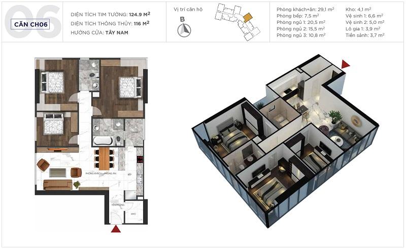 Thiết kế căn hộ 06 tòa S3 Sunshine City Ciputra Tây Hồ