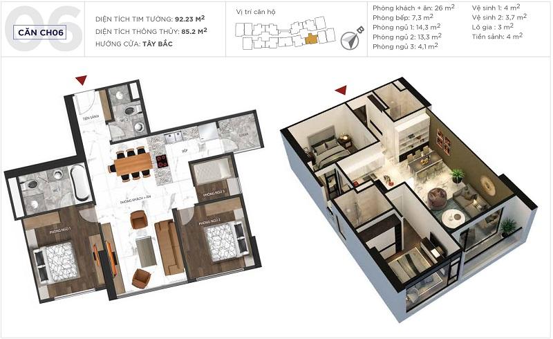 Thiết kế căn hộ 06 tòa S5 Sunshine City Ciputra Tây Hồ