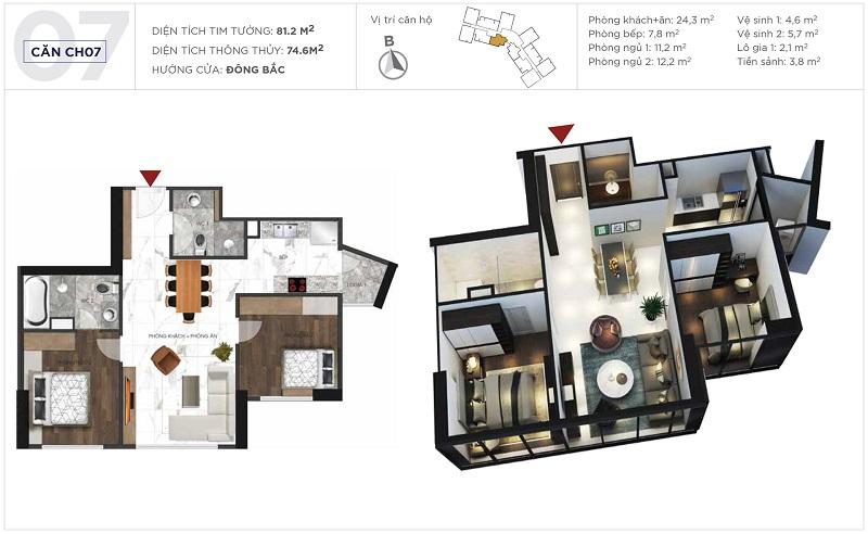 Thiết kế căn hộ 07 tòa S3 Sunshine City Ciputra Tây Hồ