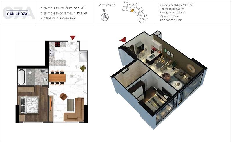 Thiết kế căn hộ 07a tòa S3 Sunshine City Ciputra Tây Hồ