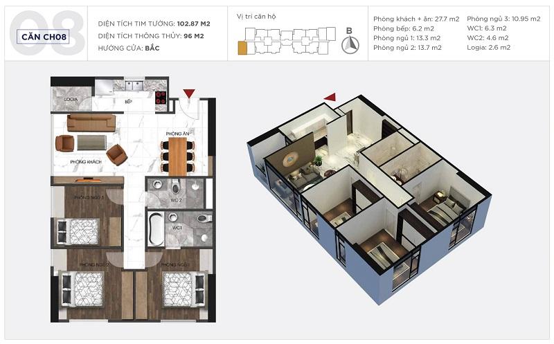 Thiết kế căn hộ 08 tòa S1 Sunshine City Ciputra Tây Hồ