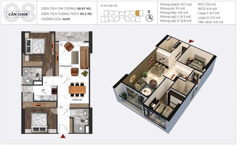 Thiết kế căn hộ 08 tòa S2 Sunshine City Ciputra Tây Hồ