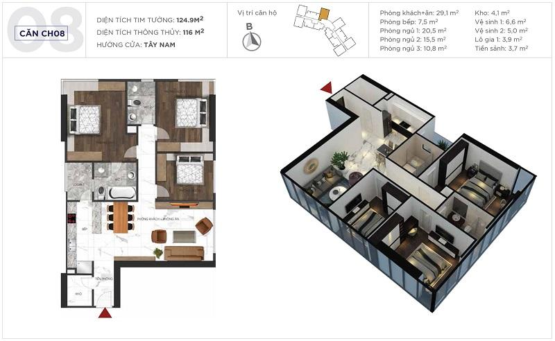 Thiết kế căn hộ 08 tòa S3 Sunshine City Ciputra Tây Hồ