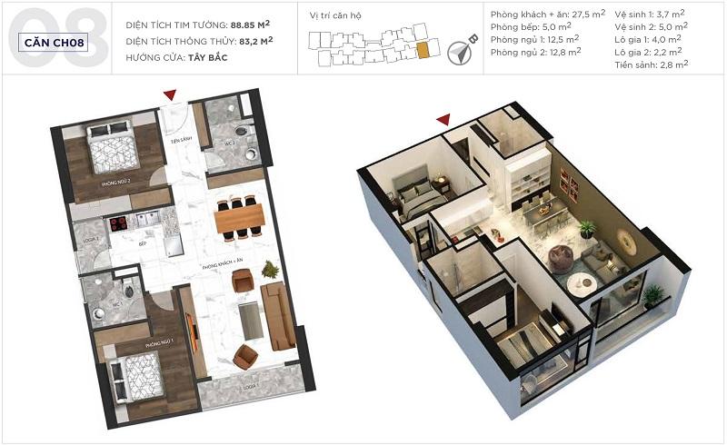Thiết kế căn hộ 08 tòa S5 Sunshine City Ciputra Tây Hồ