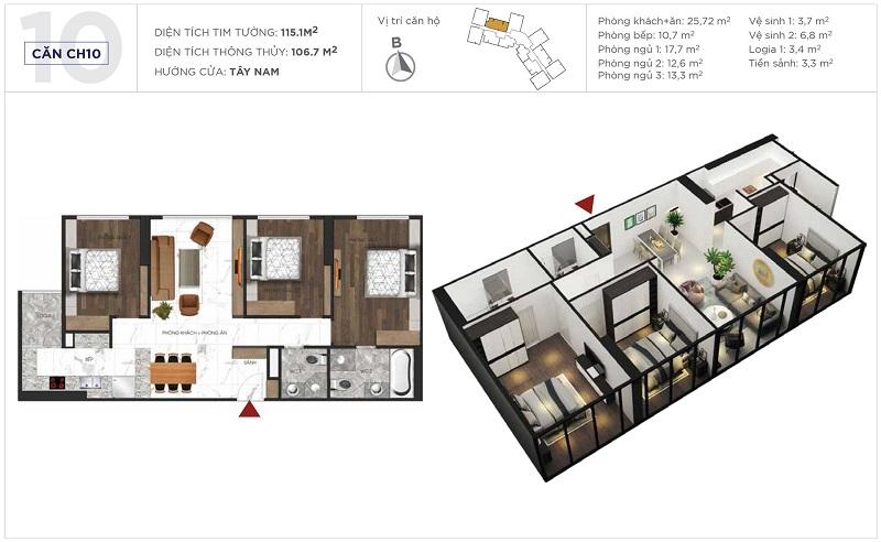 Thiết kế căn hộ 10 tòa S3 Sunshine City Ciputra Tây Hồ