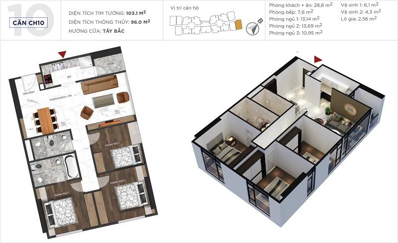 Thiết kế căn hộ 10 tòa S5 Sunshine City Ciputra Tây Hồ