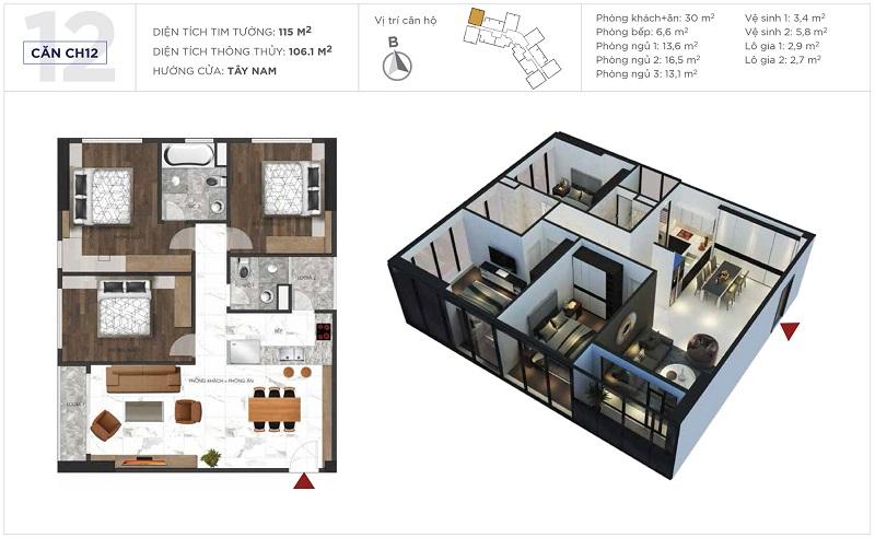 Thiết kế căn hộ 12 tòa S3 Sunshine City Ciputra Tây Hồ