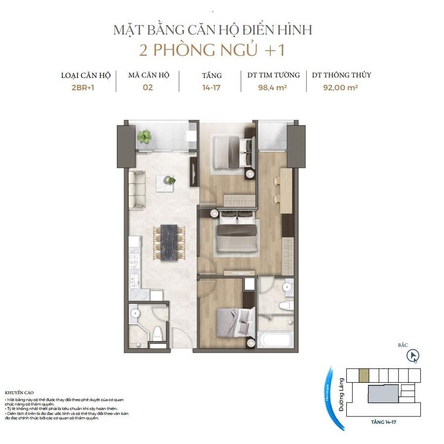 Thiết kế căn hộ 2PN+1 dự án Lancaster Luminaire 1152-1154 Đường Láng