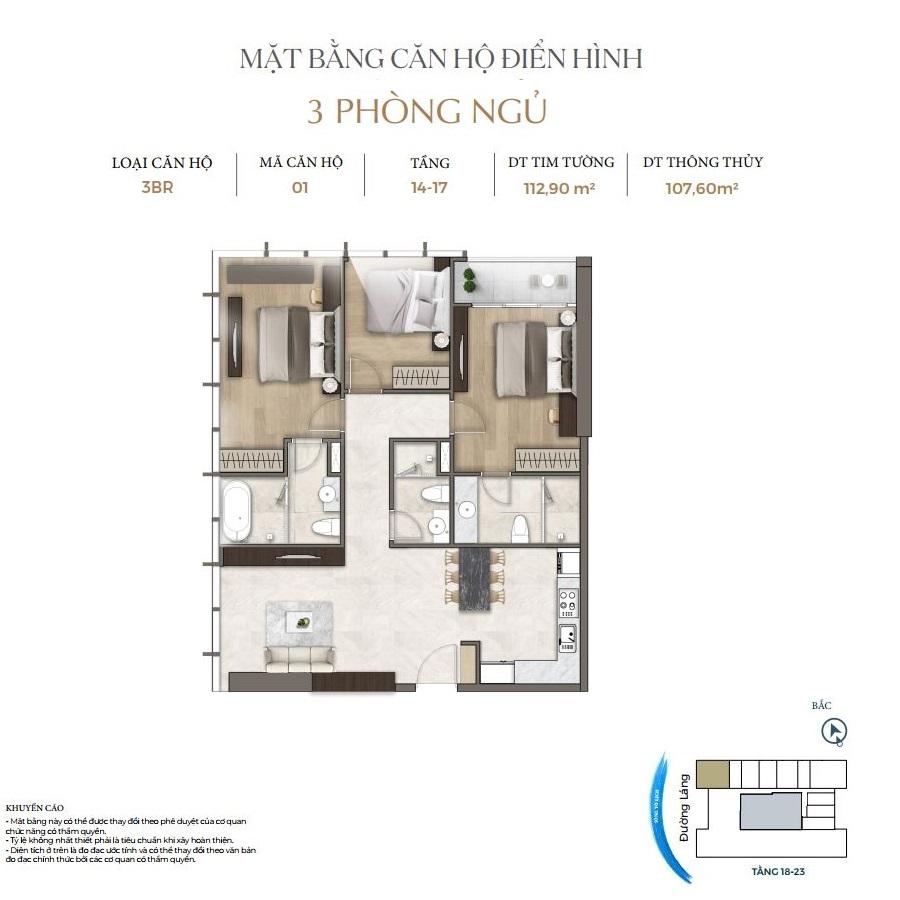 Thiết kế căn hộ 3PN dự án Lancaster Luminaire 1152-1154 Đường Láng