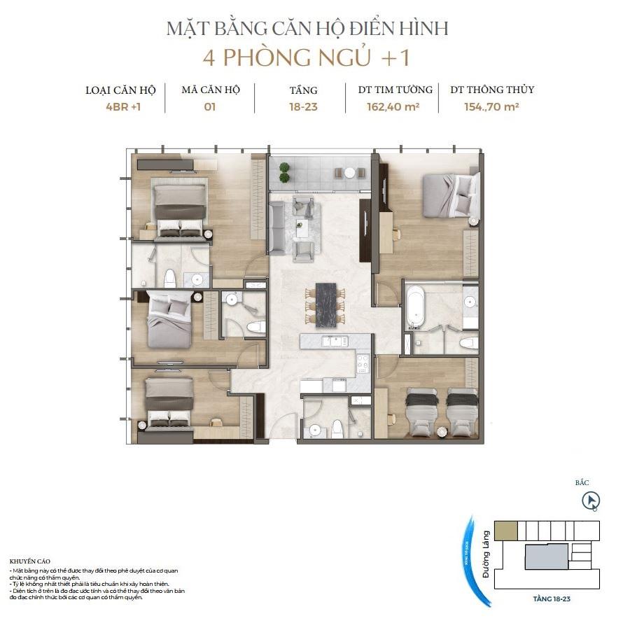 Thiết kế căn hộ 4PN+1 dự án Lancaster Luminaire 1152-1154 Đường Láng
