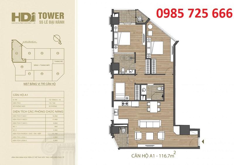 Thiết kế căn hộ A1 chung cư HDI Tower 55 Lê Đại Hành