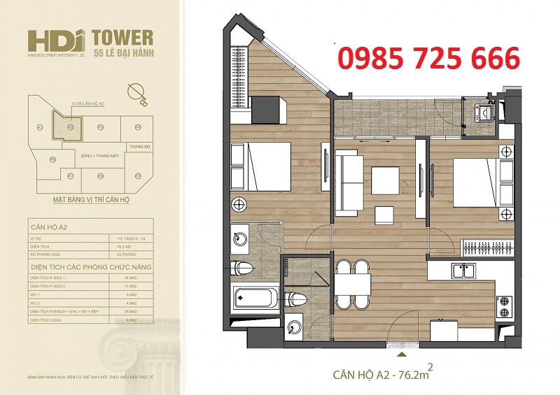 Thiết kế căn hộ A2 chung cư HDI Tower 55 Lê Đại Hành