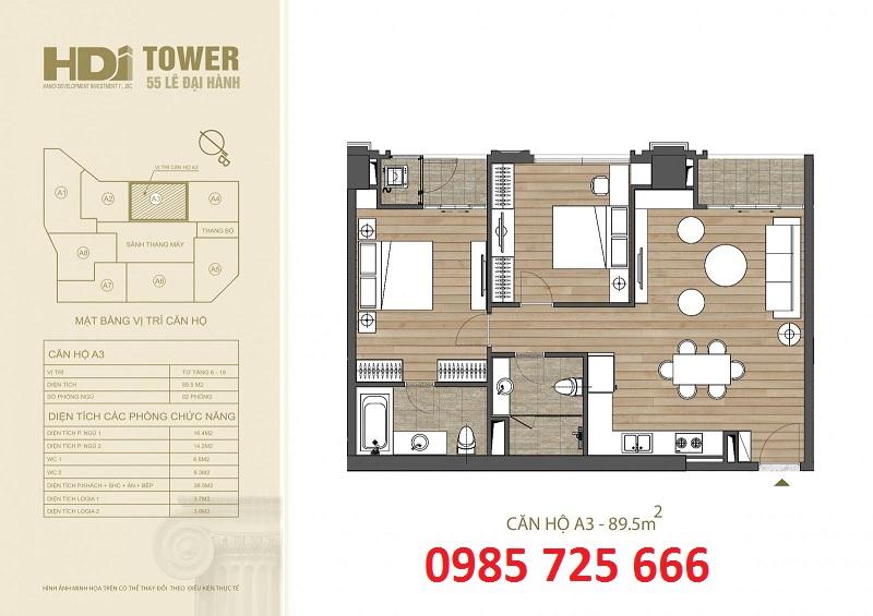 Thiết kế căn hộ A3 chung cư HDI Tower 55 Lê Đại Hành