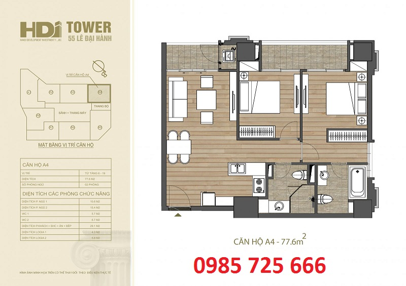 Thiết kế căn hộ A4 chung cư HDI Tower 55 Lê Đại Hành