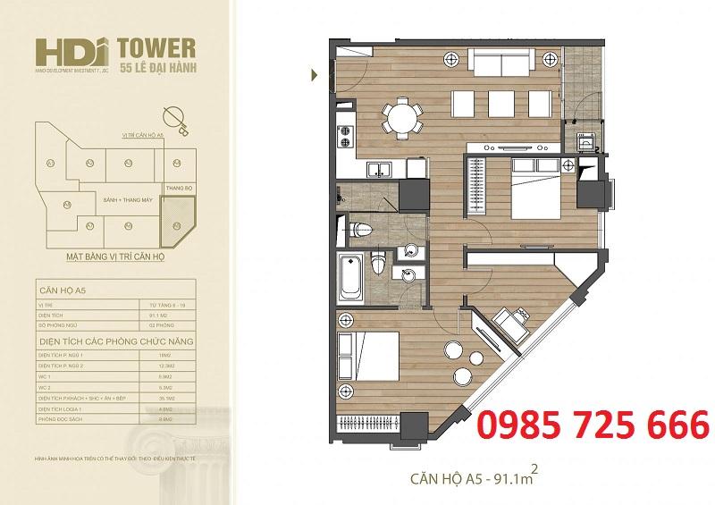 Thiết kế căn hộ A5 chung cư HDI Tower 55 Lê Đại Hành