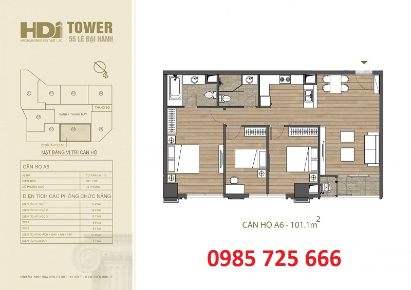 Thiết kế căn hộ A6 chung cư HDI Tower 55 Lê Đại Hành
