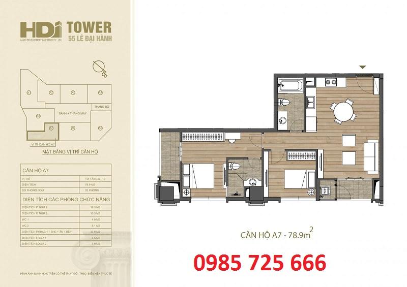 Thiết kế căn hộ A7 chung cư HDI Tower 55 Lê Đại Hành