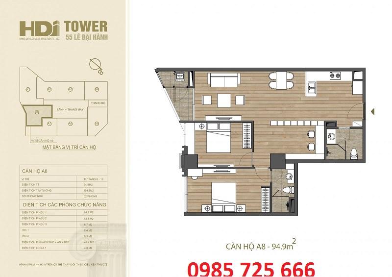 Thiết kế căn hộ A8 chung cư HDI Tower 55 Lê Đại Hành
