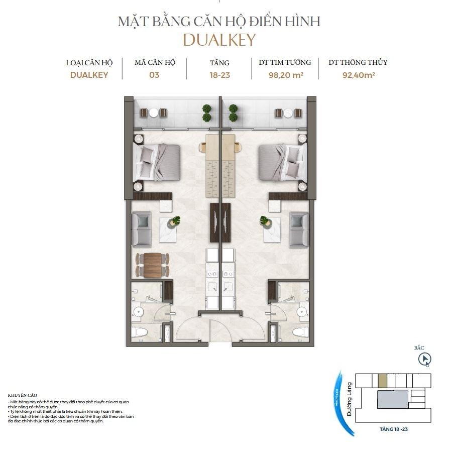 Thiết kế căn hộ Dual Key dự án Lancaster Luminaire 1152-1154 Đường Láng