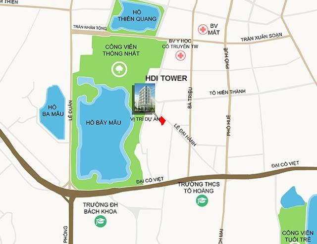 Vị trí chung cư HDI Tower 55 Lê Đại Hành