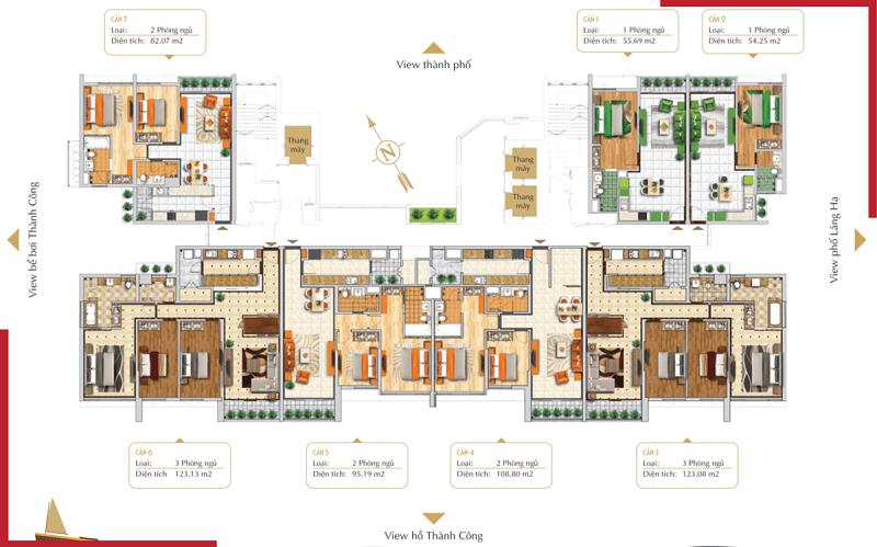 Mặt bằng căn hộ chung cư BRG Grand Plaza 16 Láng Hạ