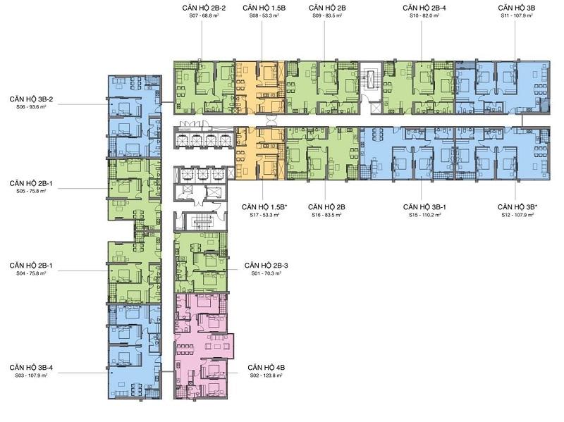 Mặt bằng căn hộ tòa A dự án Mipec Rubik Xuân Thủy