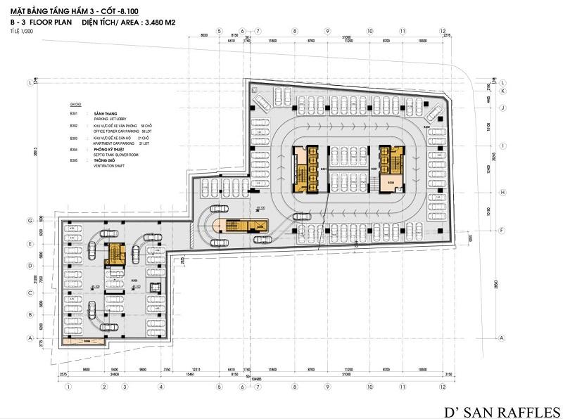 Mặt bằng hầm chung cư San Raffels 22-24 Hàng Bài