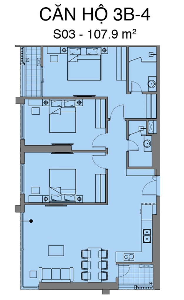 Thiết kế căn S03 dự án Mipec Rubik 360 Xuân Thủy