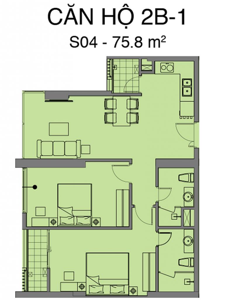 Thiết kế căn S04 dự án Mipec Rubik 360 Xuân Thủy