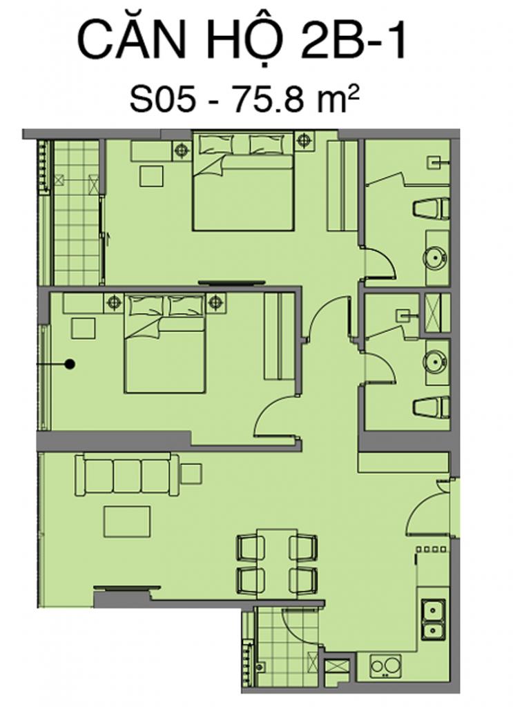Thiết kế căn S05 dự án Mipec Rubik 360 Xuân Thủy