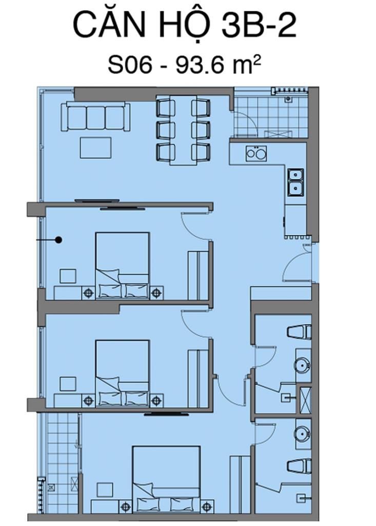 Thiết kế căn S06 dự án Mipec Rubik 360 Xuân Thủy