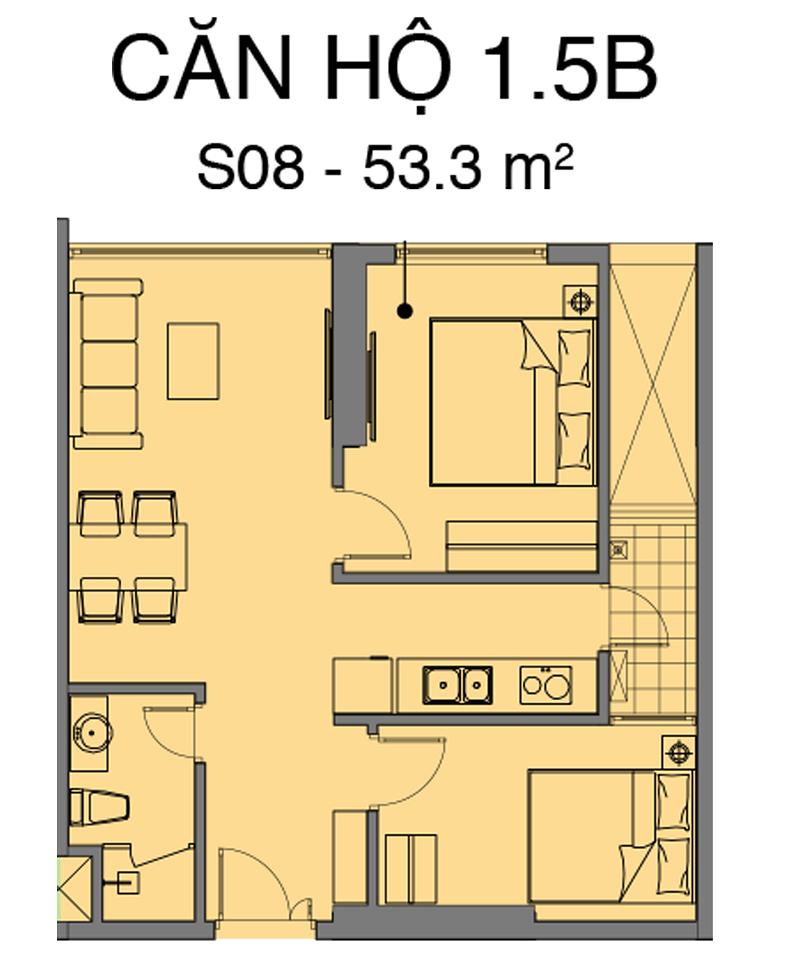 Thiết kế căn S08 dự án Mipec Rubik 360 Xuân Thủy