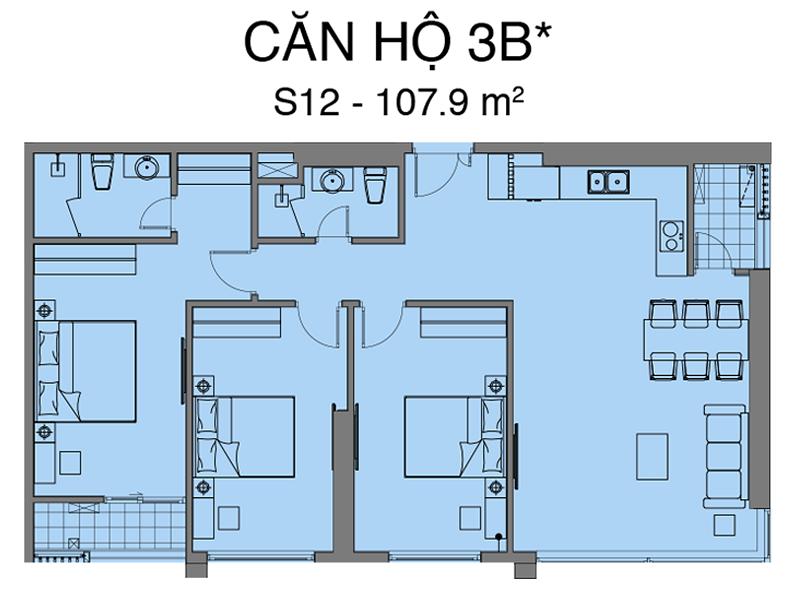 Thiết kế căn S12 dự án Mipec Rubik 360 Xuân Thủy