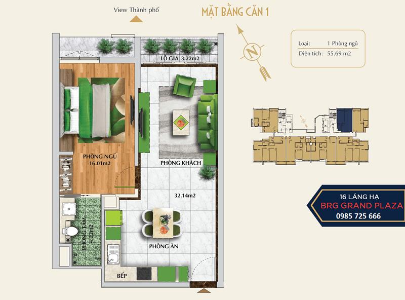 Thiết kế căn số 01 chung cư BRG Grand Plaza 16 Láng Hạ