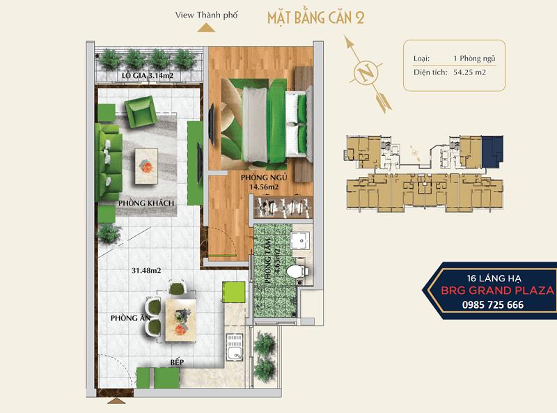Thiết kế căn số 02 chung cư BRG Grand Plaza 16 Láng Hạ