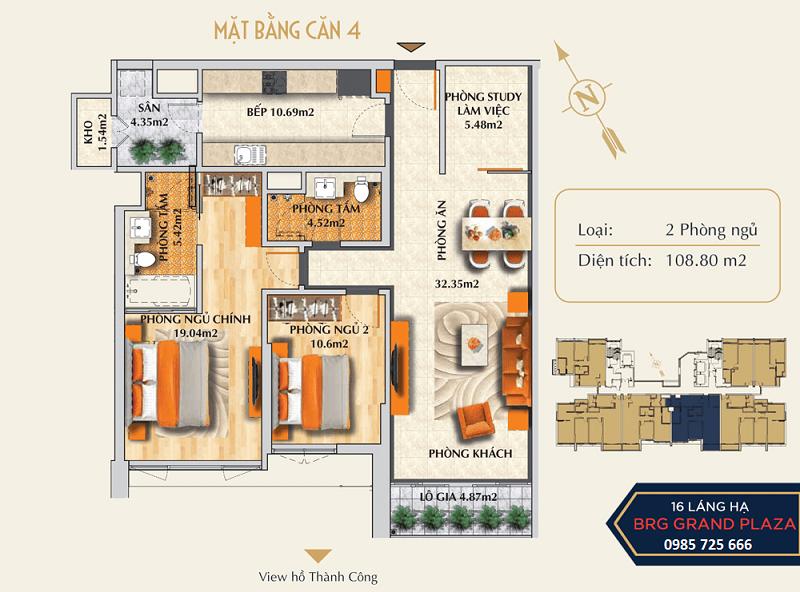 Thiết kế căn số 04 chung cư BRG Grand Plaza 16 Láng Hạ