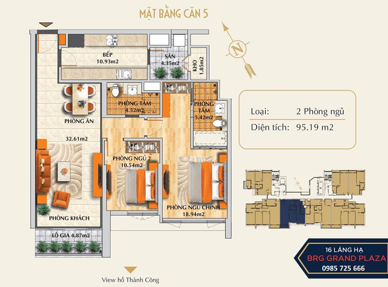 Thiết kế căn số 05 chung cư BRG Grand Plaza 16 Láng Hạ