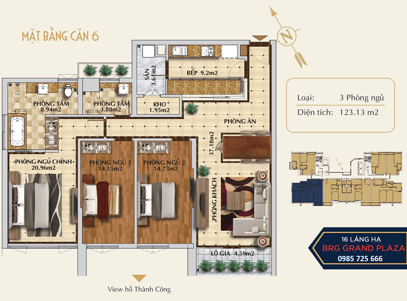 Thiết kế căn số 06 chung cư BRG Grand Plaza 16 Láng Hạ