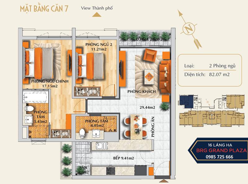 Thiết kế căn số 07 chung cư BRG Grand Plaza 16 Láng Hạ