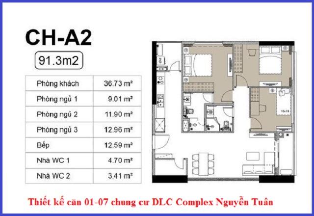 Thiết kế căn 01-07 chung cư DLC Complex Nguyễn Tuân - Ngụy Như Kon Tum