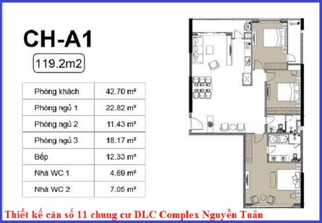 Thiết kế căn 11 chung cư DLC Complex Nguyễn Tuân - Ngụy Như Kon Tum