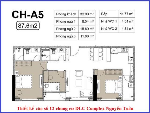 Thiết kế căn 12 chung cư DLC Complex Nguyễn Tuân - Ngụy Như Kon Tum