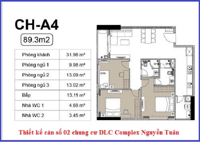 Thiết kế căn 02 chung cư DLC Complex Nguyễn Tuân - Ngụy Như Kon Tum