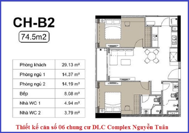 Thiết kế căn 06 chung cư DLC Complex Nguyễn Tuân - Ngụy Như Kon Tum