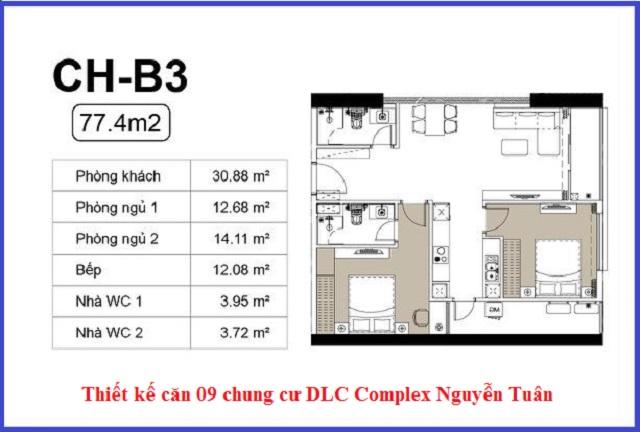 Thiết kế căn 09 chung cư DLC Complex Nguyễn Tuân - Ngụy Như Kon Tum