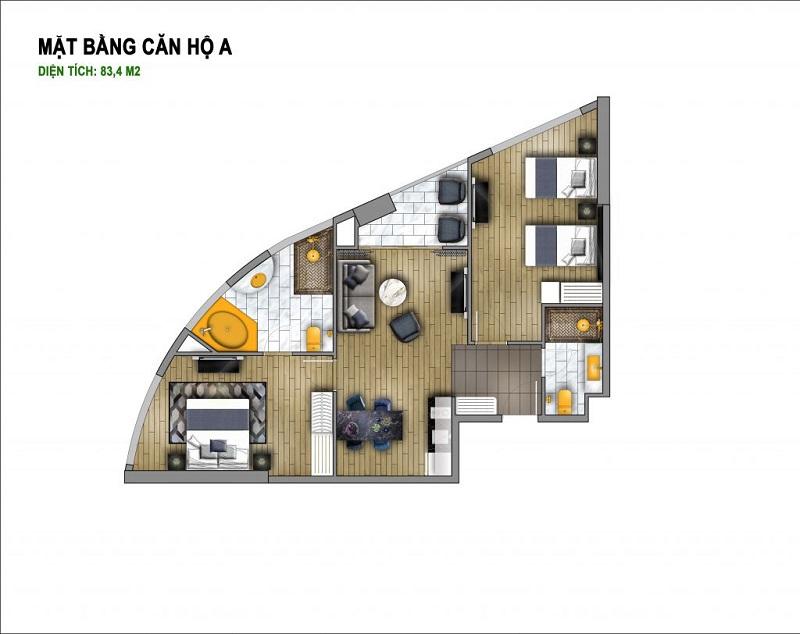 Thiết kế căn A chung cư B7 Giảng Võ - Golden Lake Hòa Bình