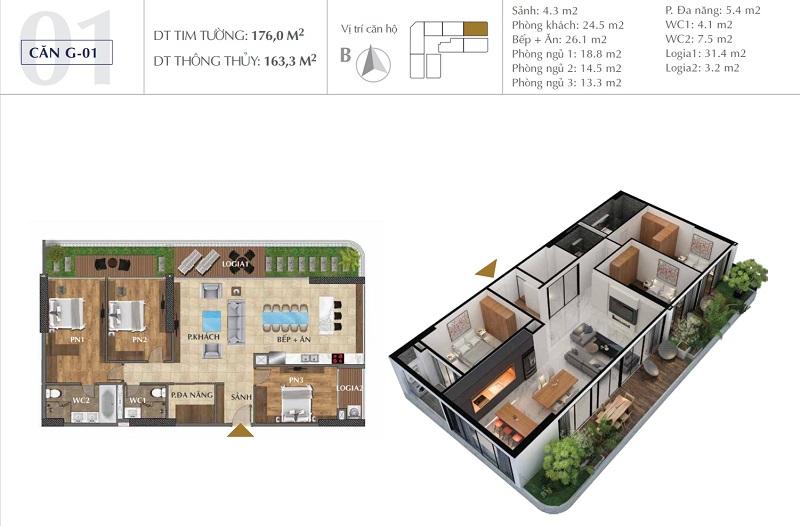 Thiết kế căn A01 chung cư Sunshine Golden River - Ciputra Tây Hồ