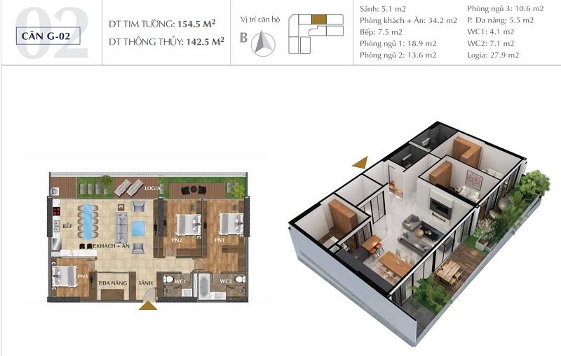 Thiết kế căn A02 chung cư Sunshine Golden River - Ciputra Tây Hồ